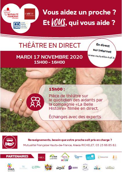 17 novembre 2020 à 15h -  Aidants - Participez au théâtre intéractif en ligne !